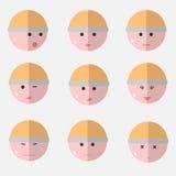 Caras planas de las emociones Imagen de archivo libre de regalías