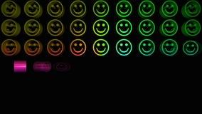 Caras sonrientes coloridas que aparecen en una rejilla ilustración del vector