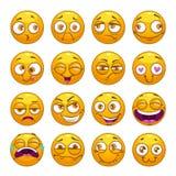 Caras sonrientes del amarillo cómico divertido de la historieta fijadas stock de ilustración