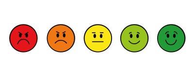 Caras sonrientes del grado rojas ponerse verde alrededor stock de ilustración