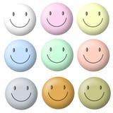 Caras sonrientes en colores pastel ligeras ilustración del vector