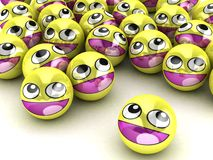 caras sonrientes redondas 3D. Fotos de archivo