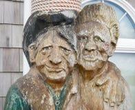 Caras, talladas de la madera Imagen de archivo
