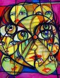 Caras y ojos surrealistas Imágenes de archivo libres de regalías