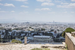 Caratagina and view on Tunis. Ruins of Cartagina - monument in Tunisia and part of Musem building. And Tunis panoramic photo royalty free stock photo
