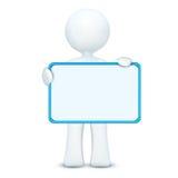 carattere 3d che tiene scheda in bianco illustrazione vettoriale