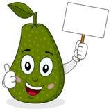 Carattere allegro dell'avocado con l'insegna Fotografia Stock Libera da Diritti