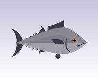 Carattere animale grafico del pesce di nuoto divertente grigio sveglio del fumetto e marinaio acquatico dell'aletta dell'oceano d Fotografie Stock