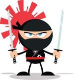 Carattere arrabbiato di Ninja Warrior Cartoon Mascot Fotografia Stock
