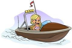 Carattere biondo della ragazza del fumetto sull'imbarcazione a motore marrone illustrazione di stock