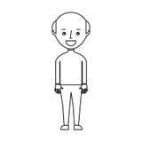 carattere calvo dell'avatar del giovane Immagini Stock