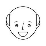 carattere calvo dell'avatar del giovane Fotografia Stock Libera da Diritti