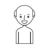 carattere calvo dell'avatar del giovane Fotografia Stock
