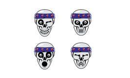 Carattere capo del cranio divertente dell'emoticon royalty illustrazione gratis