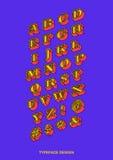 Carattere Colourful isometrico piano dei caratteri tipografici con grazie con il profilo nero Vect fotografia stock libera da diritti