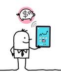 Carattere con la compressa - banca royalty illustrazione gratis
