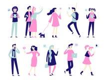Carattere con lo smartphone Smartphones nelle mani della gente, nella conversazione dell'uomo sul telefono cellulare o in donna c royalty illustrazione gratis