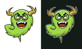 Carattere cornuto del troll del mostro del fumetto in vetri illustrazione di stock