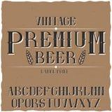 Carattere d'annata dell'etichetta nominato Premium Beer Immagine Stock