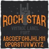 Carattere d'annata dell'etichetta nominato rock star Fotografia Stock