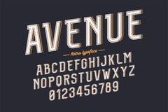 Carattere d'annata di vettore decorativo retro, fonte, lettere di alfabeto Fotografia Stock