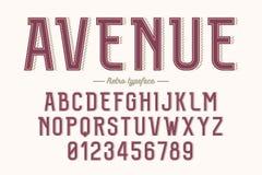 Carattere d'annata di vettore decorativo retro, fonte, lettere di alfabeto Fotografie Stock Libere da Diritti