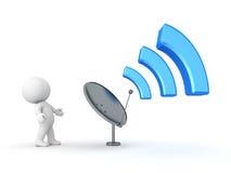 carattere 3D che esamina antenna che emette il segnale di Wi-Fi Immagini Stock Libere da Diritti