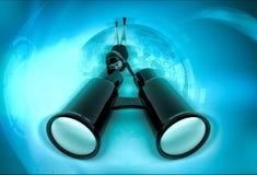 carattere 3d che guarda attraverso la grande illustrazione binoculare Immagini Stock