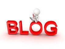 carattere 3D che si siede sopra le lettere che dicono blog e che scrivono i Fotografia Stock