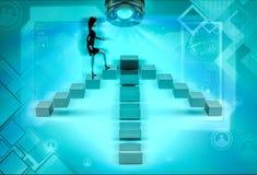 carattere 3d che va sopra l'illustrazione a quattro vie delle scale Immagine Stock Libera da Diritti