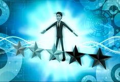 carattere 3d con un'illustrazione di cinque stelle Fotografia Stock Libera da Diritti