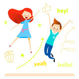Carattere dei bambini del fumetto Il salto dei bambini Le ragazze ed il ragazzo felici godono di e giocare royalty illustrazione gratis