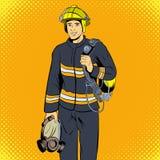 Carattere dei fumetti del pompiere Fotografie Stock