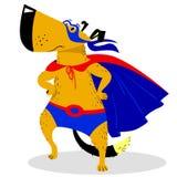 Carattere del cane di Halloween in costume del superman illustrazione di stock