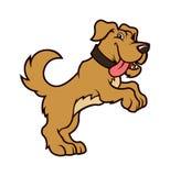 Carattere del cane del fumetto che sta sulle gambe posteriori illustrazione di stock
