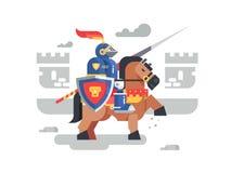 Carattere del cavaliere a cavallo illustrazione di stock