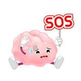 Carattere del cervello umano che tiene il segno di SOS illustrazione di stock