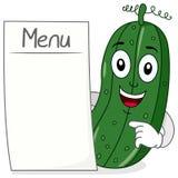 Carattere del cetriolo con il menu in bianco Fotografia Stock