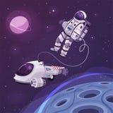 Carattere del cosmonauta nello spazio cosmico Illustrazione di vettore del fumetto illustrazione vettoriale