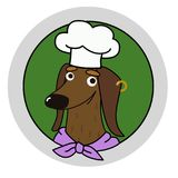Carattere del cuoco unico del cane del bassotto tedesco del fumetto fotografie stock