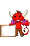 Carattere del diavolo - segno della tenuta che dà i pollici su illustrazione vettoriale