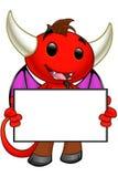Carattere del diavolo - tenere bordo in bianco illustrazione di stock