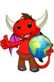 Carattere del diavolo - tenere un globo illustrazione vettoriale