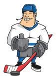 Carattere del giocatore di hockey su ghiaccio del fumetto Immagini Stock