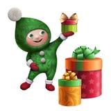 carattere del giocattolo dell'elfo di Natale 3d con il contenitore di regalo Immagine Stock
