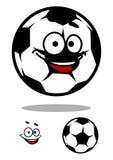 Carattere del pallone da calcio con il fronte felice Fotografie Stock Libere da Diritti