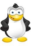 Carattere del pinguino - mani sulle anche illustrazione di stock