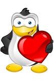 Carattere del pinguino - tenere grande cuore illustrazione di stock
