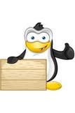 Carattere del pinguino - tenere segno di legno illustrazione di stock