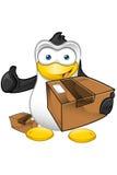 Carattere del pinguino - tenere un pacchetto illustrazione di stock